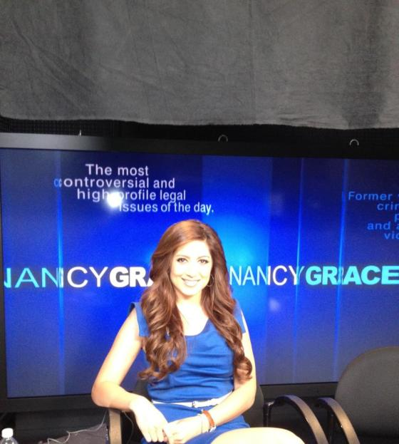Anahita behind the scenes at the Nancy Grace show!